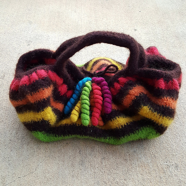 The front of the finally done felted crochet granny square bag