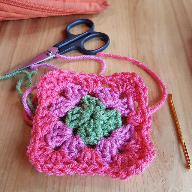 three color granny square