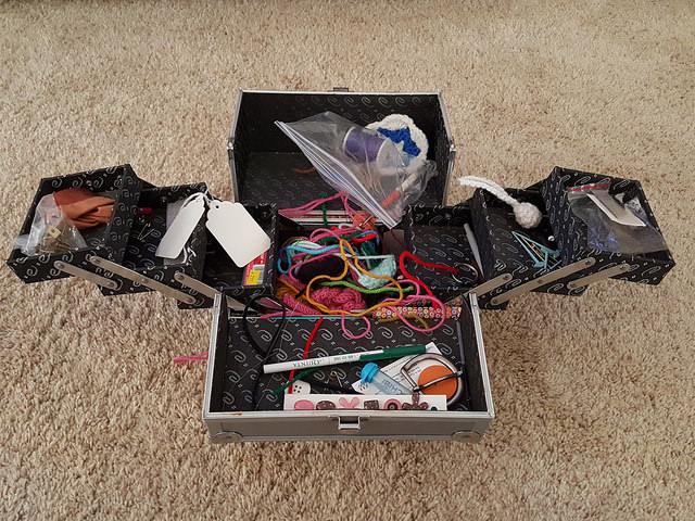 box of crochet tools hit by entropy
