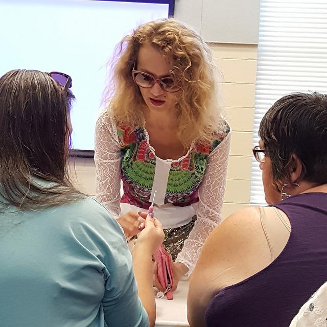 Olek at a crochet workshop at John P Top Greene Community Center, Raleigh, North Carolina