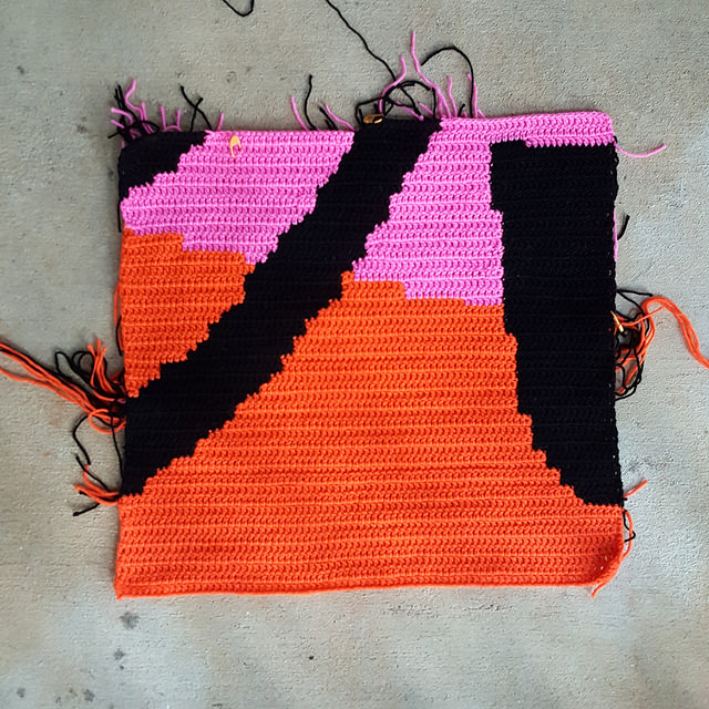 large graphic double crochet square for a crochet mural