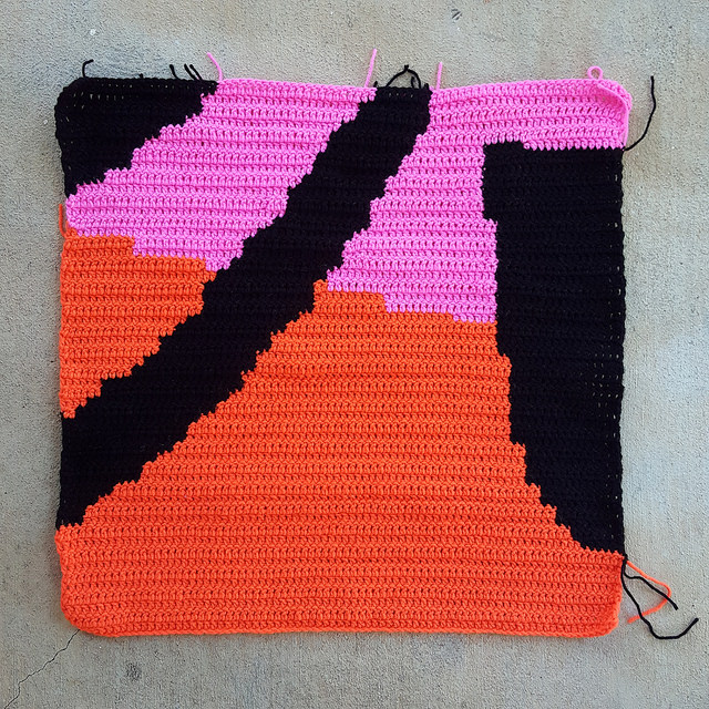 in progress on a two foot crochet square panel for the Love Across the USA Raleigh, North Carolina crochet installation