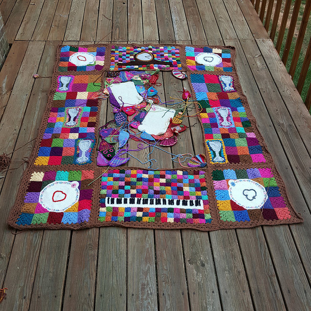 crochetbug, crazy quilt crochet, embroidery on crochet, narrative crochet, crochet panels, crochet rectangles, crochet squares, crochet blanket, crochet afghan, crochet throw
