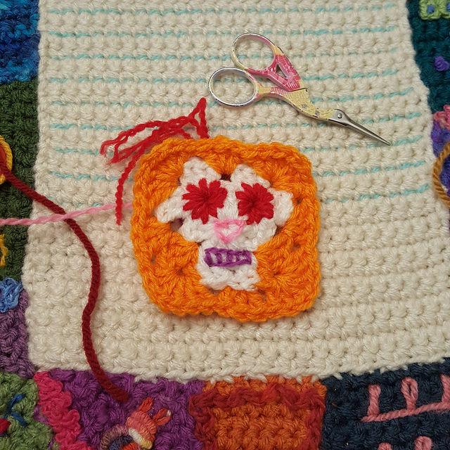 crochetbug, crochet, granny square, day of the dead, Dia de los Muertos , crochet skull, embroidery on crochet