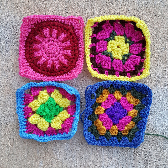 Four more crochet squares rehabbed and ready for adventure