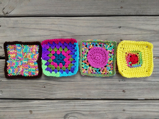 four more crochet squares on my journey to one thousand