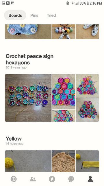 crochetbug, crochet hexagon, peace sign crochet hexagon, pinterest