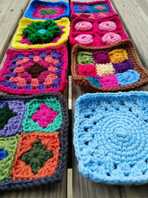 A long side view of the eight rehabbed crochet squares I worked on over the Ides of April