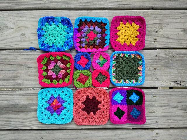 nine rehabbed crochet granny squares