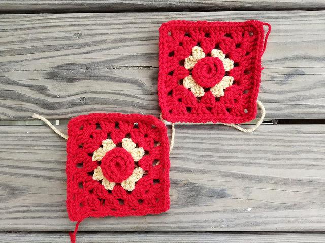 two crochet rosette granny squares