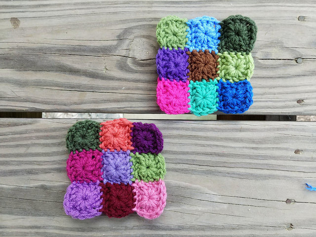 two nine-patch crochet granny squares