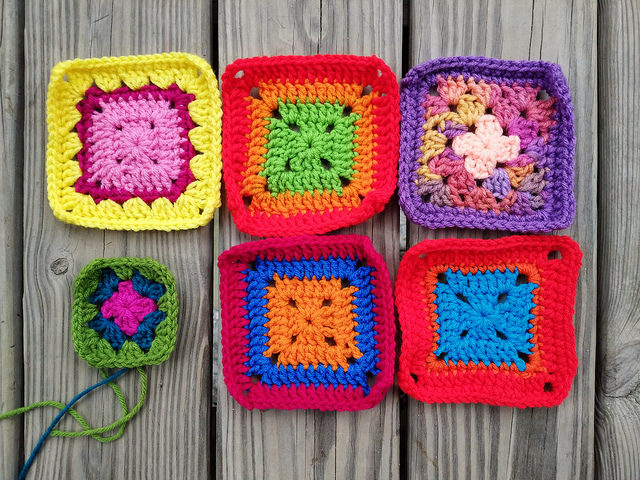 Six granny squares rehabbed for the Project Amigo crochet blanket project