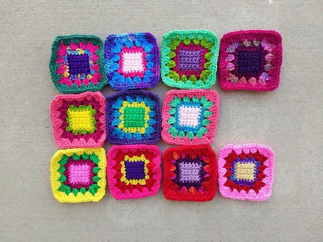 Eleven crochet squares in medias rehab