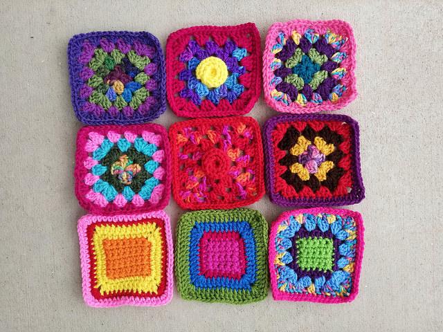Nine newly rehabbed crochet squares