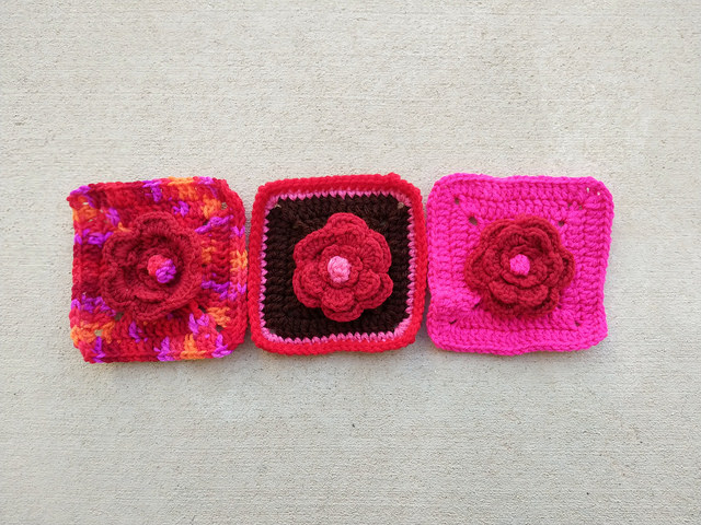 Three highly textured crochet roses transformed into five-inch crochet squares