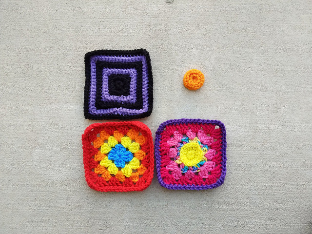 Three of the four crochet remnants rehabbed and ready for adventure