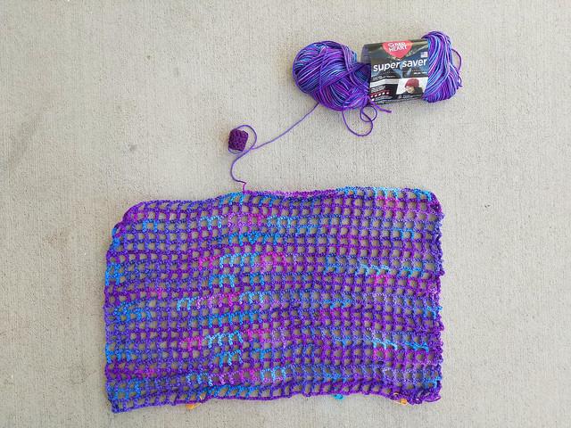 Twenty-two rows into the crochet French market bag aka grape fizz extravaganza