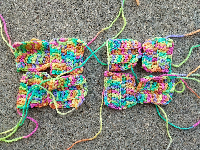 More textured crochet squares made in the discontinued Piñata colorway