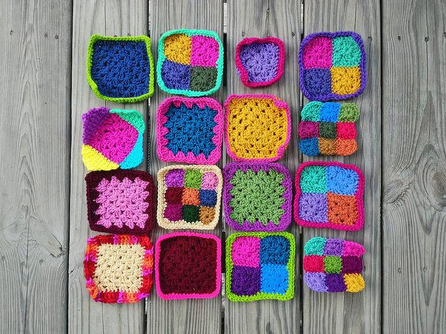 sixteen crochet remnants becoming five-inch crochet squares