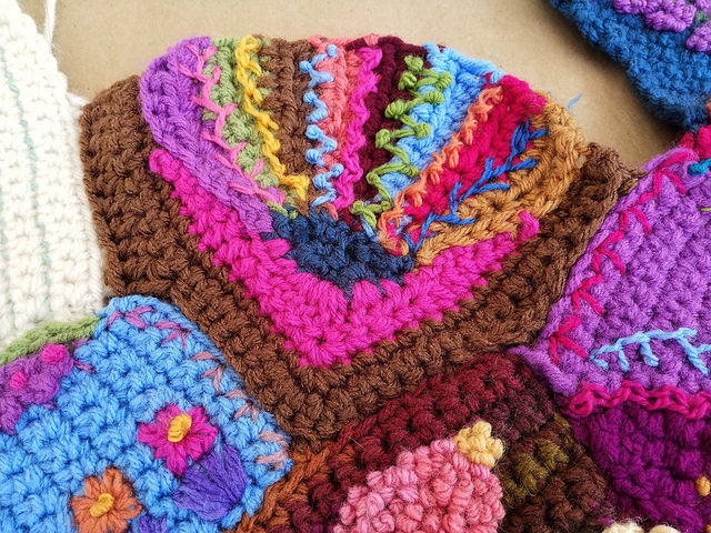 A crochet crazy quilt fan motif in need of a touch more tricking out