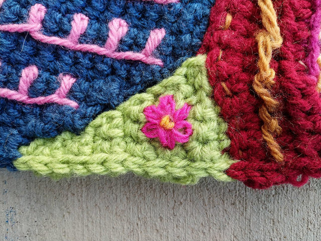 A crochet crazy quilt patch in need of tricking out