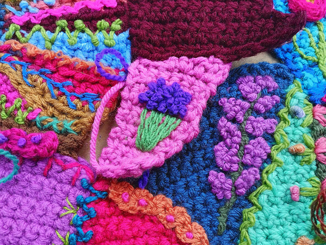 A newly tricked out crochet crazy quilt piece