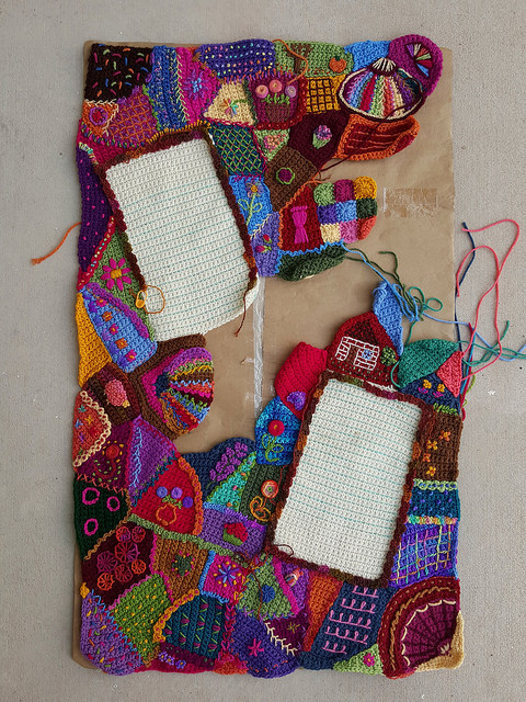 An overview of my overall progress on the crochet crazy quilt center panel