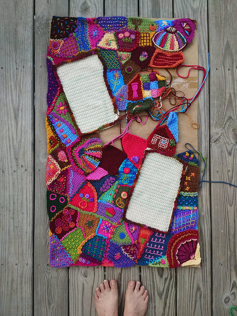 An overview of my progress on the crochet crazy quilt center panel