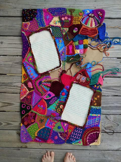 An overview of the crochet crazy quilt center panel