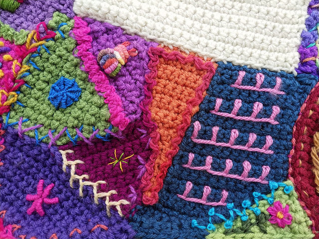 Some crochet crazy quilt pieces in need of a bit more decoration