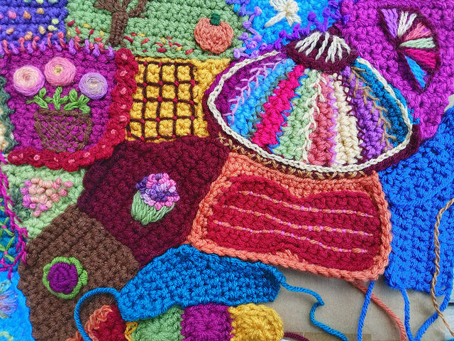 The same corner with two new linchpin crochet pieces