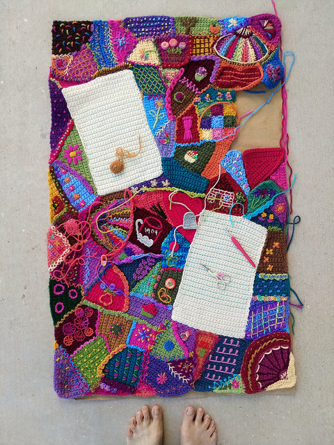 An overview of the crochet crazy quilt crochet panel with more crochet rickrack