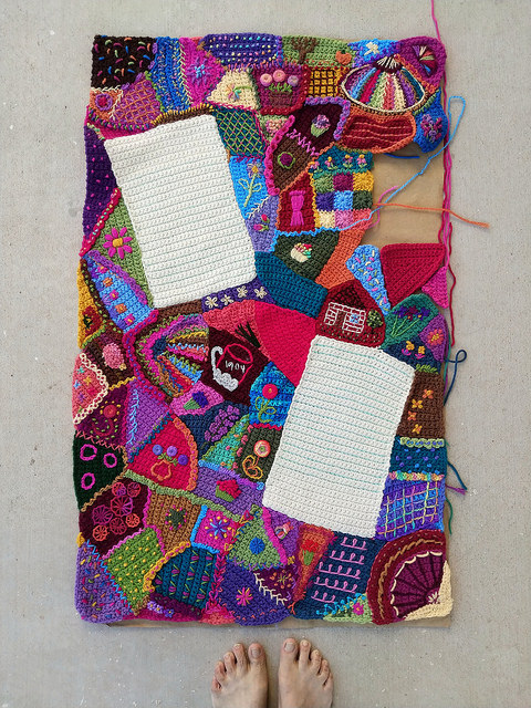 An overview of the crochet crazy quilt crochet panel without crochet rickrack