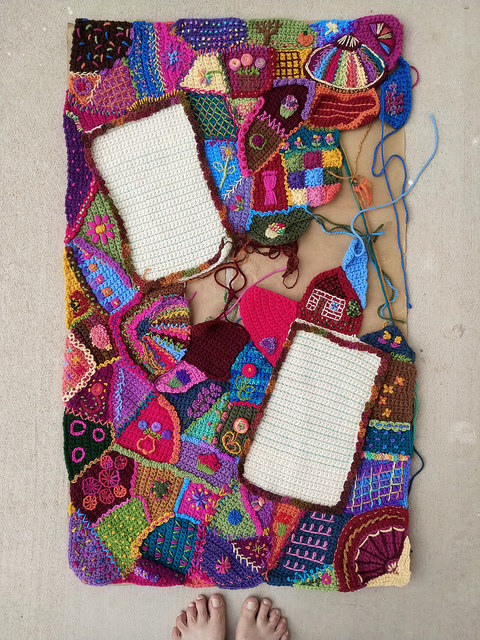 An overview of the progress on my crochet crazy quilt panel
