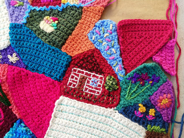 Some of the crochet crazy quilt pieces I finished and seamed