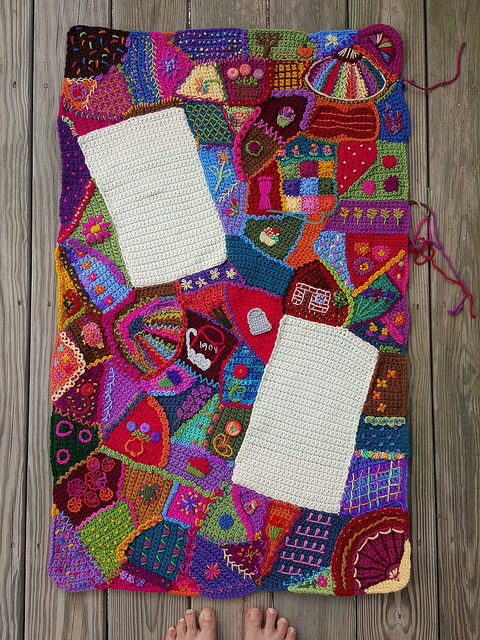 The crochet crazy quilt panel