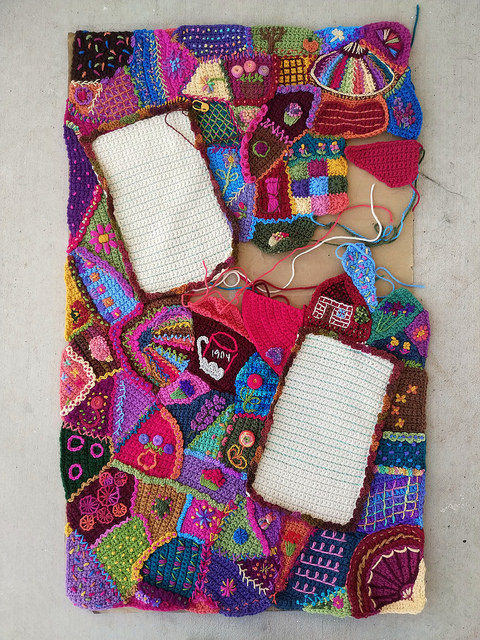 Yet another overview of my progress on the crochet crazy quilt panel