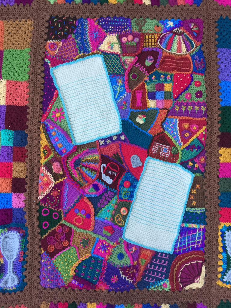 Crochet crazy quilt center panel, doing the detail work on this was not ultrafast, but rather ultraslow