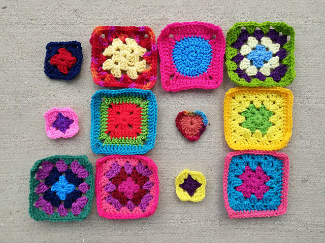 Two-thirds of the way through this round of crochet square rehab