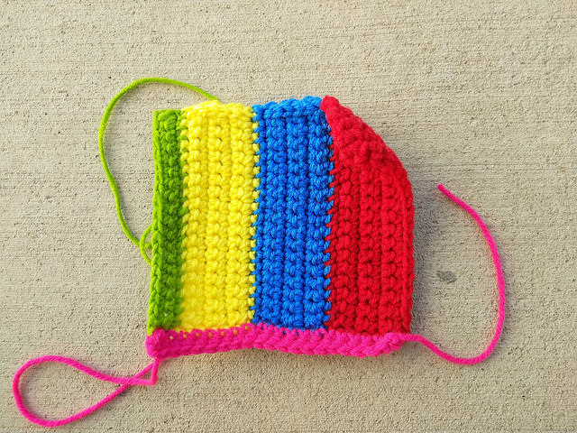My final design to make a six-inch crochet square from crochet remnants