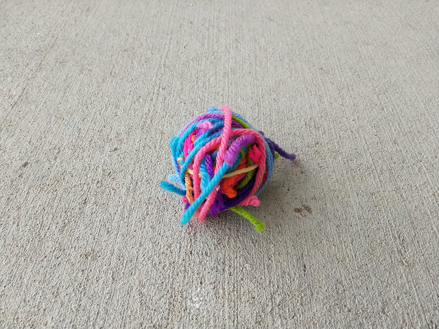 My scrap yarn ball before I got the ends woven in and trimmed