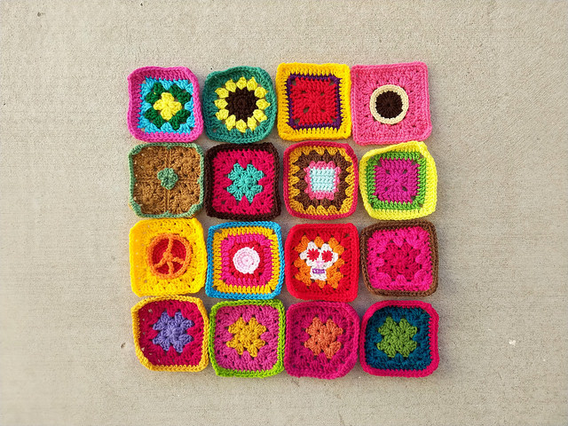 Sixteen five-inch rehabbed crochet squares for Project Amigo