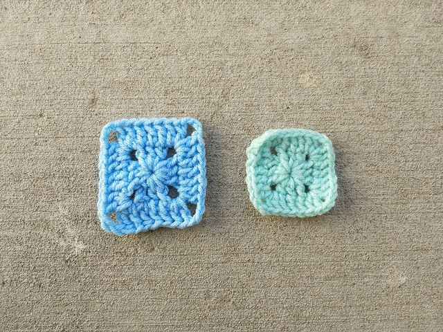 Two granny squares ready for crochet rehab