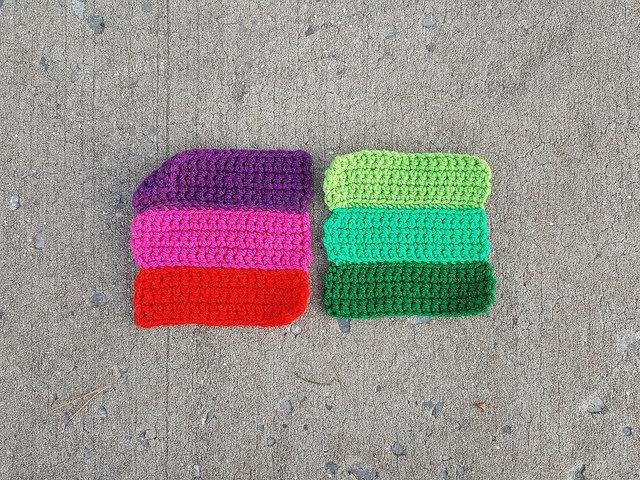 Variation on three stripes crochet squares