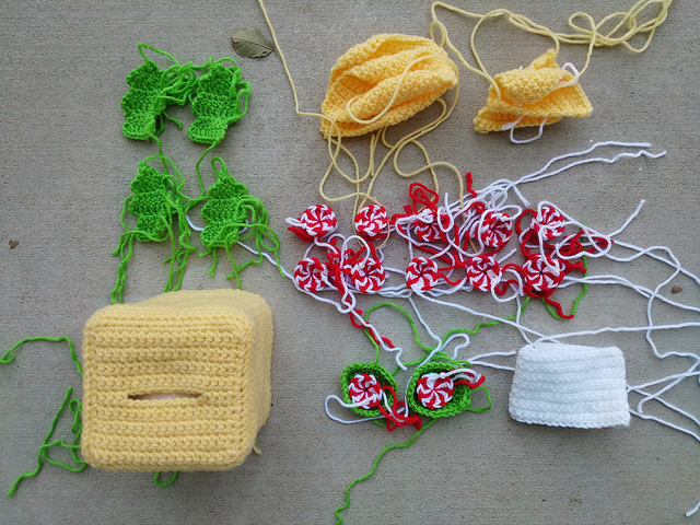 All of the crochet pieces ready for finishing and assembly
