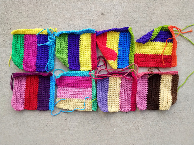 Eight of sixteen television test pattern motifs on the march to one thousand crochet squares