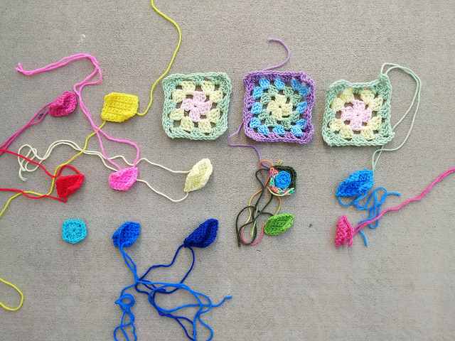 Fifteen crochet remnants in need of rehab