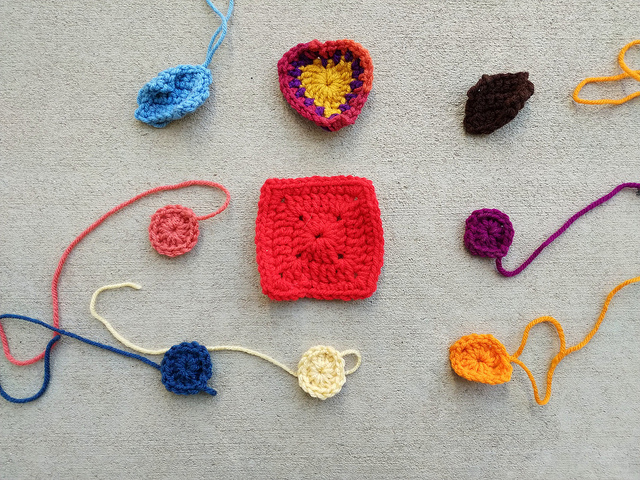 Nine more crochet remnants ready for rehab