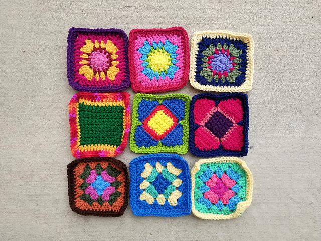 Nine more rehabbed crochet squares
