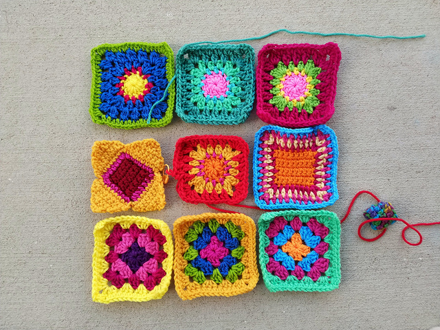 Another nearly completed nine patch of rehabbed crochet remnants